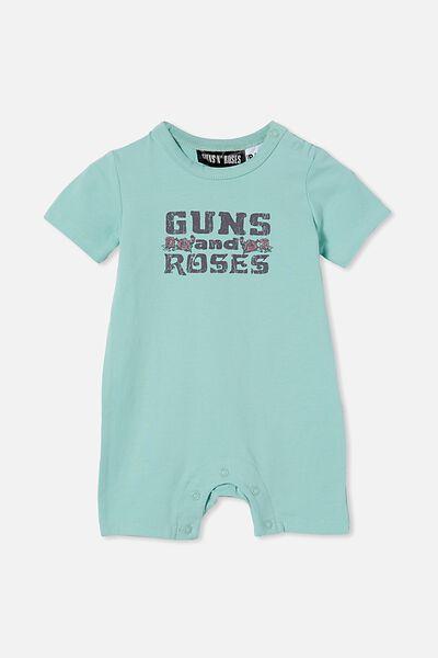 Usa Short Sleeve Romper License, LCN BR DUCK EGG/GUNS N ROSES