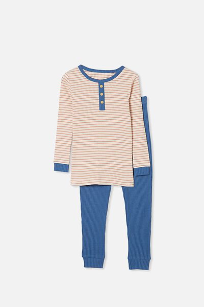 Thomas Long Sleeve Pyjama Set, DARK VANILLA STRIPE