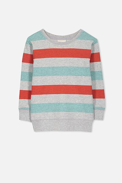 Lachy Crew Sweater, LT GREY MARLE/RED/BLUE STRIPE