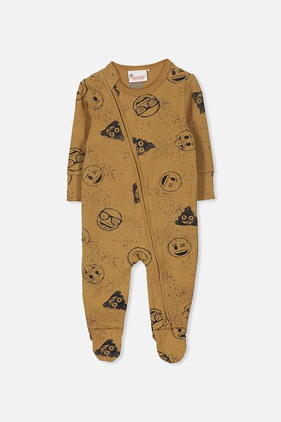 License Zip Through Romper, BURNT BISCUIT/EMOJI PAINT