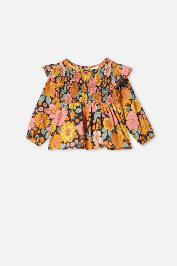 Ruby Long Sleeve Shirred Top, PHANTOM/RETRO FLORAL