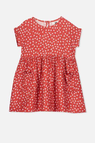 Malia Short Sleeve Dress, RALLY RED/SIMPLE DITSY