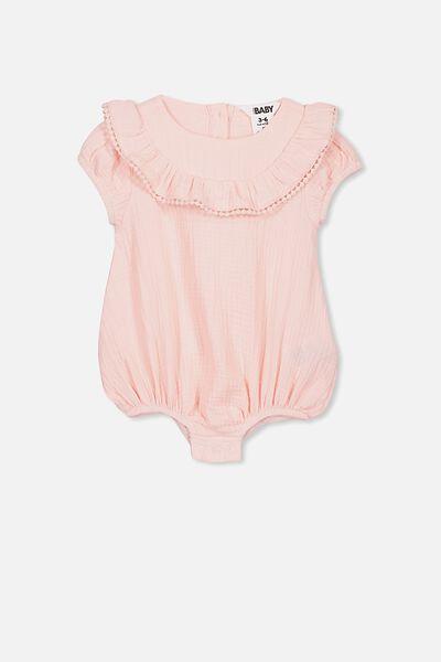 Phoebe Short Sleeve Ruffle Bubbysuit, CRYSTAL PINK