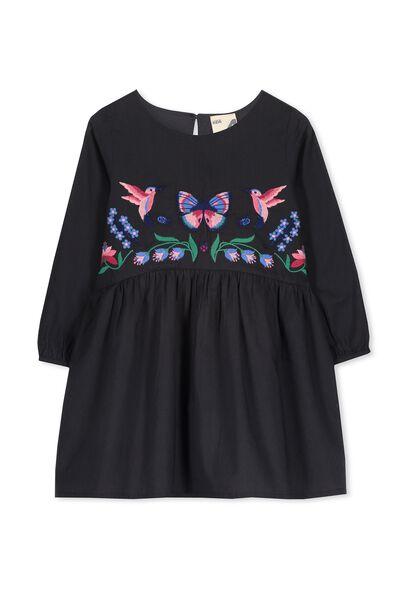 Poppy Long Sleeve Dress, PHANTOM/EMB