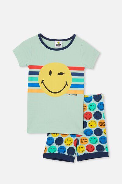 Ted Short Sleeve Pyjama Set Licensed, LCN SMILEY FACE DUCK EGG