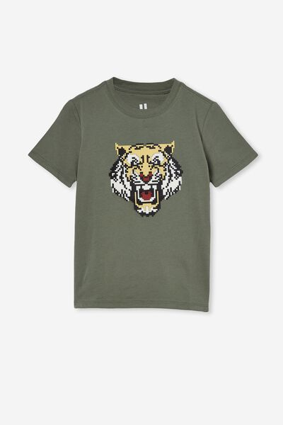 Downtown Short Sleeve Tee, SWAG GREEN/TIGER STACK