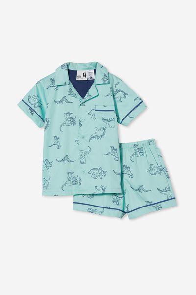 Pete Short Sleeve Pyjama Set, SKETCHY DINO/MINT BREEZE