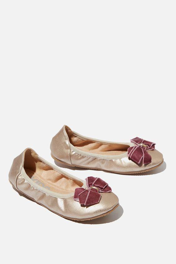 Primo Ballet Flats, MATTE GOLD SHIMMER PINK BOW