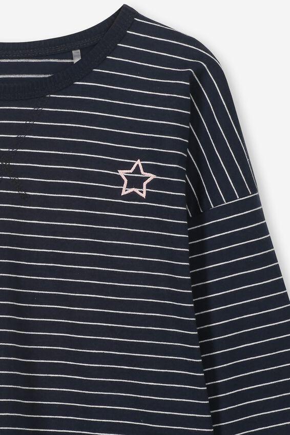 Kit Long Sleeve Top, INDIAN INK/WHITE STRIPE/STAR