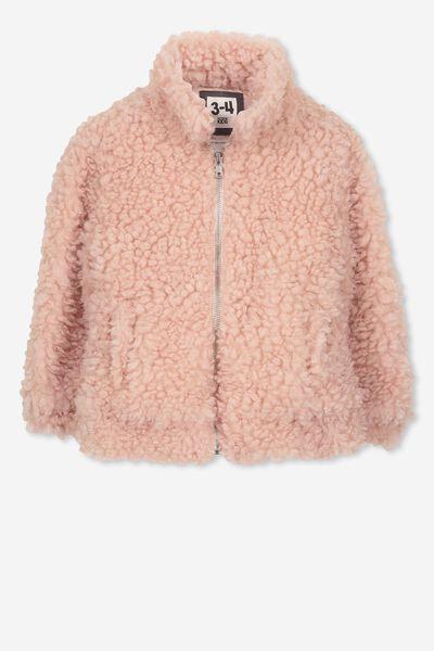 Tash Teddy Slouch Jacket, PEARL PINK