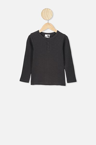 Lucia Long Sleeve Rib Henley, PHANTOM