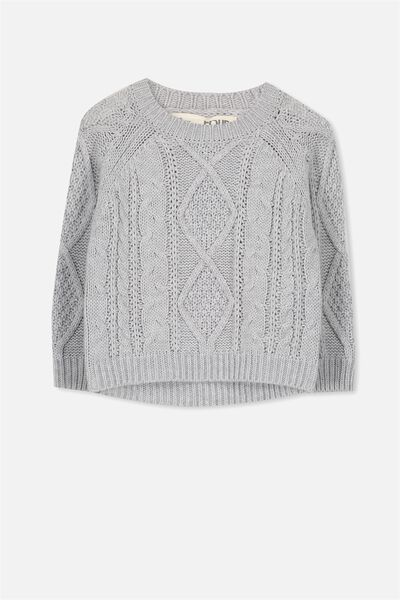 Belinda Knit Jumper, LIGHT GREY MARLE