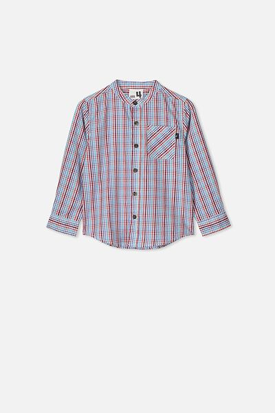 Grandpa Collar Prep Shirt, RED/BLUE MINI CHECK