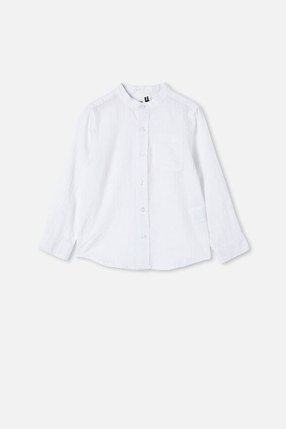 Grandpa Collar Prep Shirt, WHITE TEXTURED STRIPE