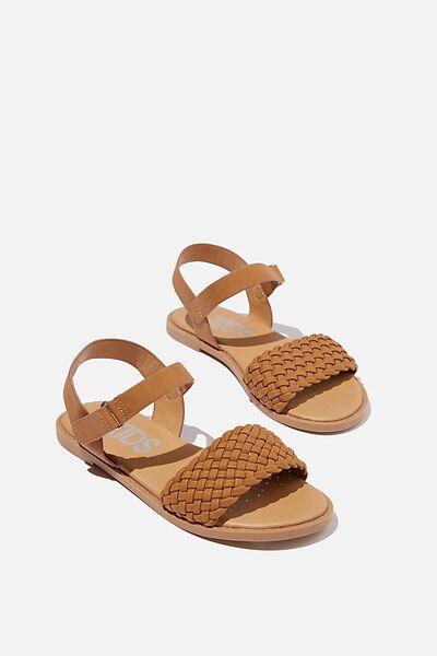 Plaited Wide Strap Sandal, TAN