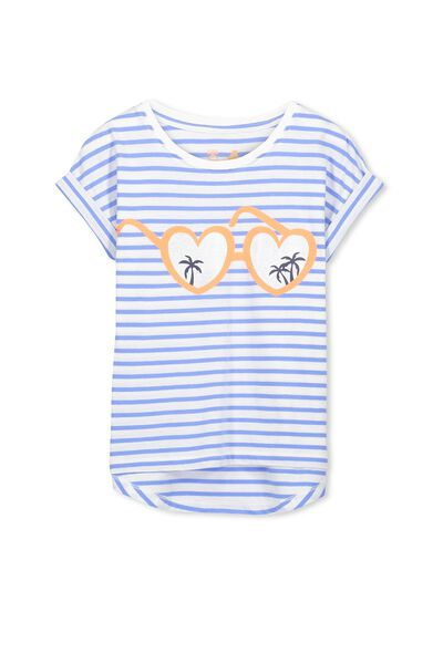 Penelope Short Sleeve Roll Up Tee, BLUE DASIY STRIPE/HEART SUNGLASSES