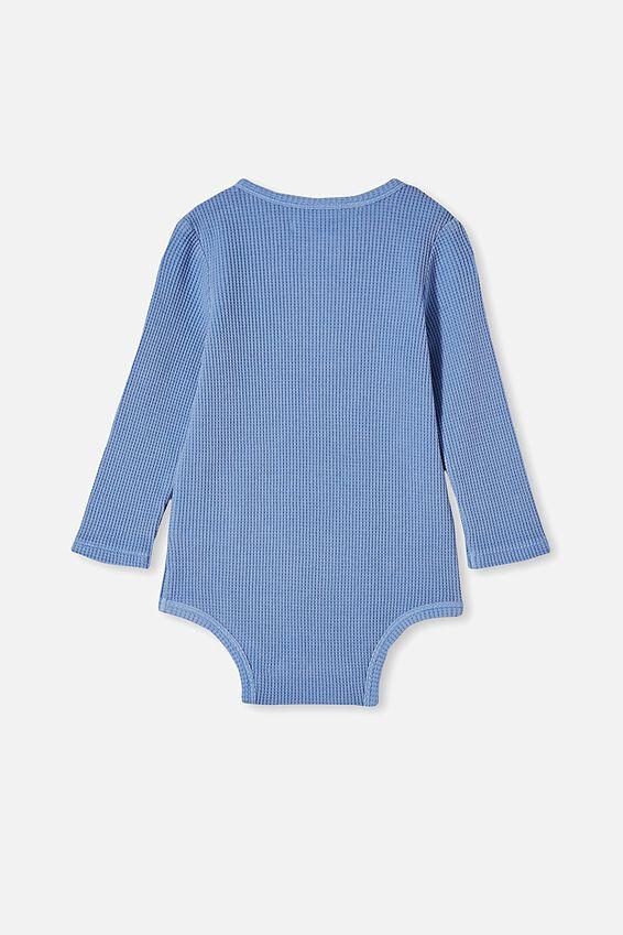 The Long Sleeve Waffle Bubbysuit, POWDER PUFF BLUE