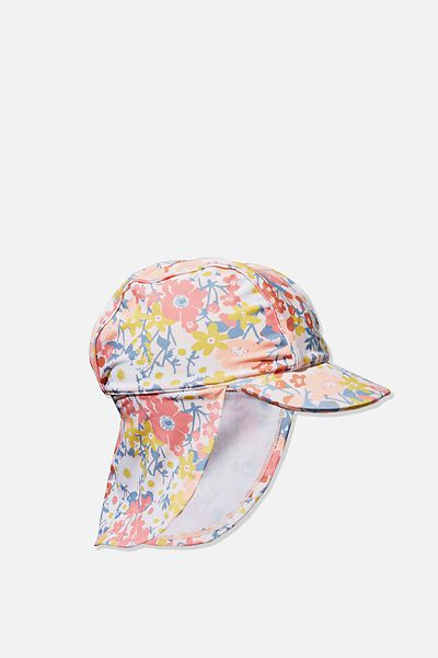 Newborn Sonny Swim Hat, CRYSTAL PINK/MEADOW FLORAL