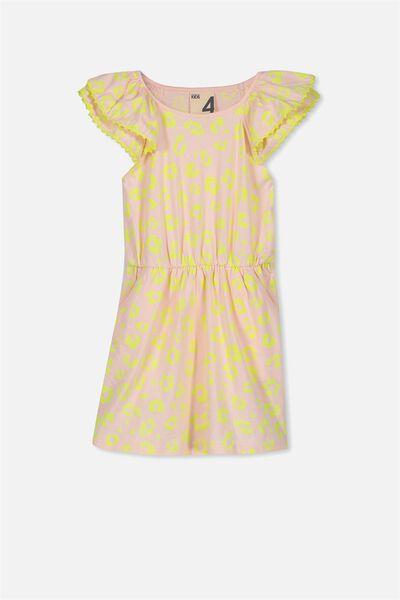 Beau Flutter Sleeve Dress, SHELL PEACH/ANIMAL