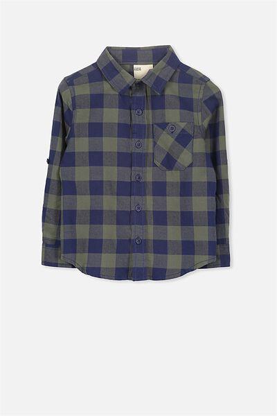 Noah Long Sleeve Shirt, CLIVE GREEN CHECK 2