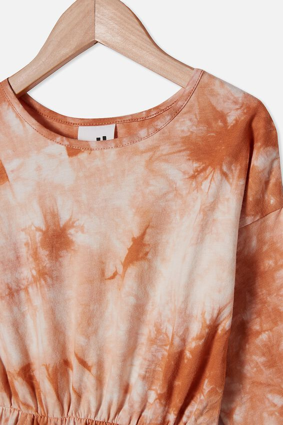 Sigrid Long Sleeve Dress, ROASTED ALMOND TIE DYE