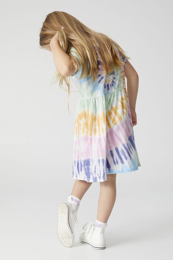 Freya Short Sleeve Dress, AQUA SPIRAL TIE DYE