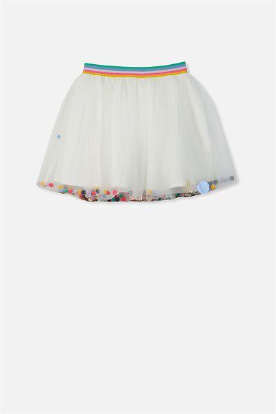 Trixiebelle Tulle Skirt, VANILLA/RAINBOW CONFETTI