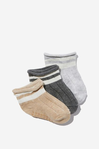 3Pk Baby Socks, MIXED YARN GREY STRIPE