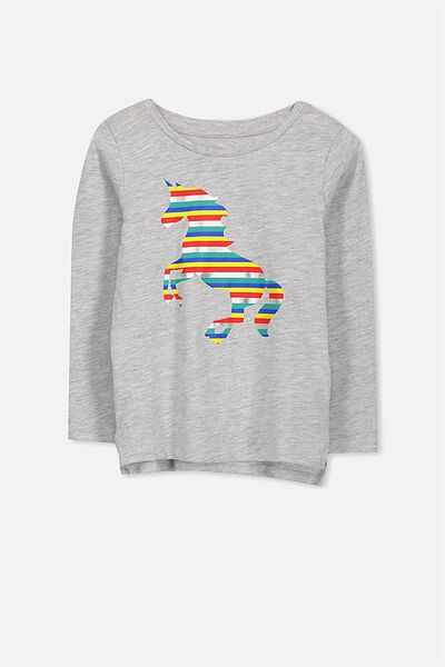 Penelope Long Sleeve Tee, LIGHT GREY MARLE RAINBOW UNICORN