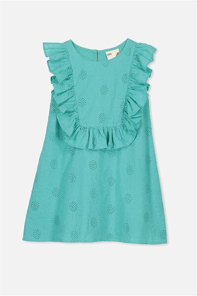 Agnes Frill Dress, TURQUOISE