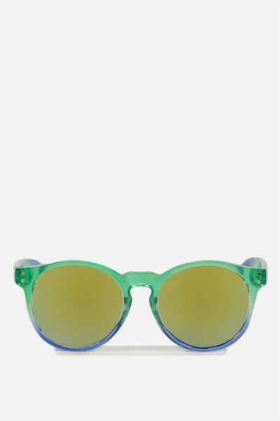 Carnival Sunglasses, GREEN AND BLUE OMBRE