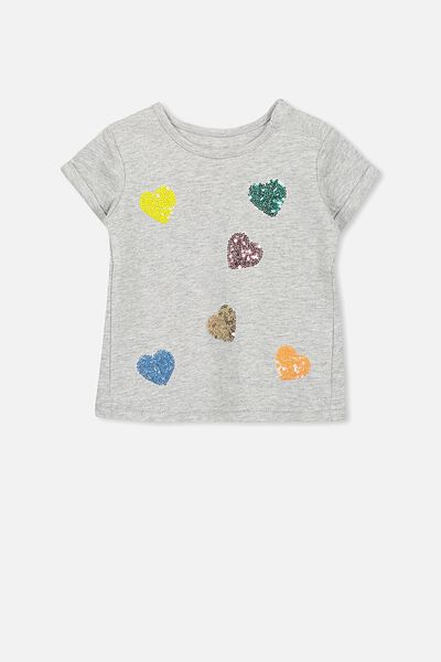 Ginger Ss Tee, LT GREY MARLE/HEART
