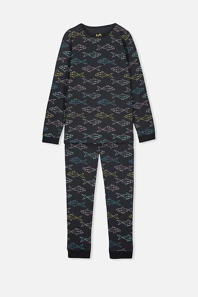 Harrison Long Sleeve Boys Pyjamas, VINTAGE SHARK/NAVY