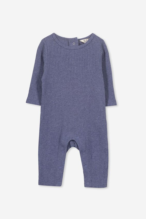 The Rib Snap Romper, INDIAN INK MARLE