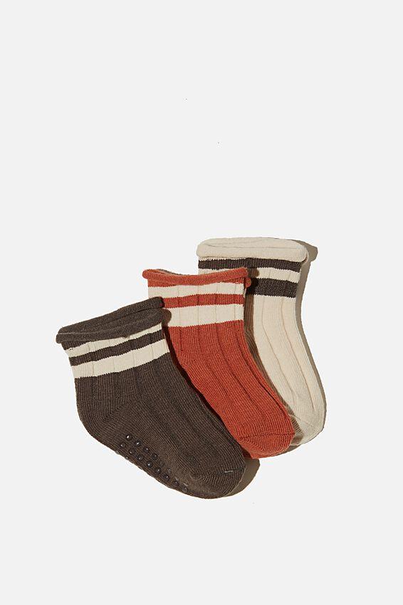 3Pk Baby Socks, CHUTNEY/RABBIT GREY RETRO CREW