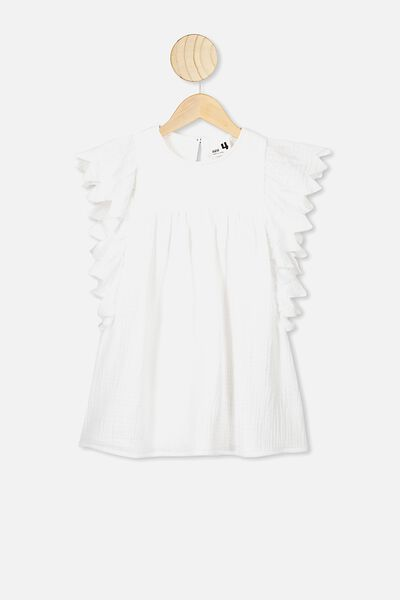 Maggie Short Sleeve Dress, WHITE