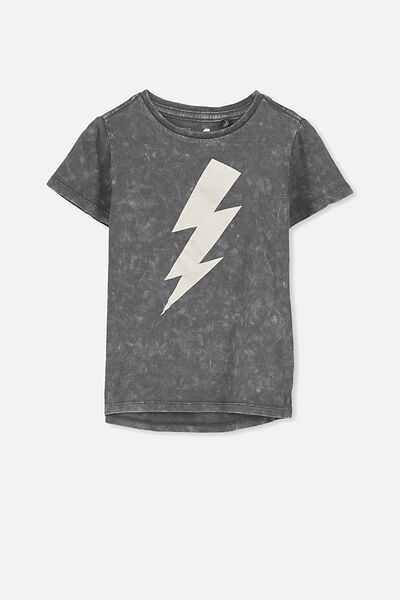 Max Short Sleeve Tee, LT GRAPHITE SW LIGHTNING BOLT/CH