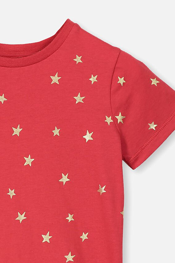 Penelope Short Sleeve Tee, LUCKY RED/FOIL STARS/MAX