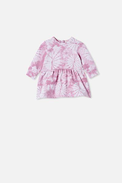 Tiffany Fleece Dress, CHALKY MAUVE TIE DYE