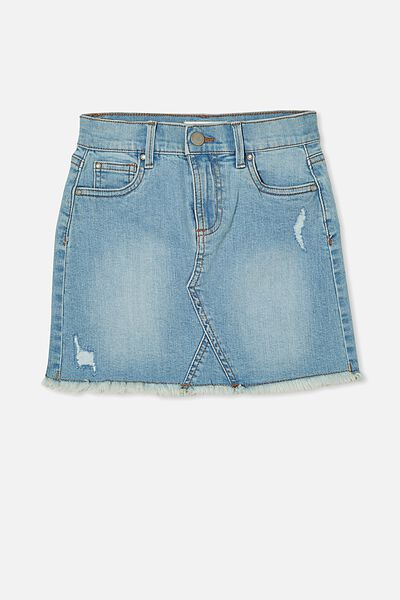 Finn Denim Skirt, BLEACH WASH RIPS