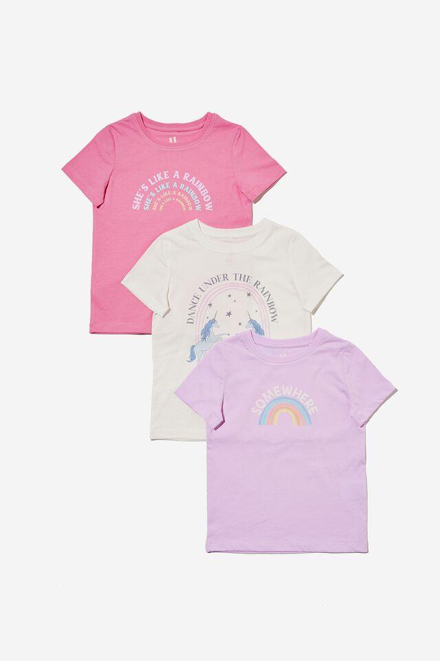Girls Multipack Short Sleeve Tee 3 Pack, RAINBOW BUNDLE 1