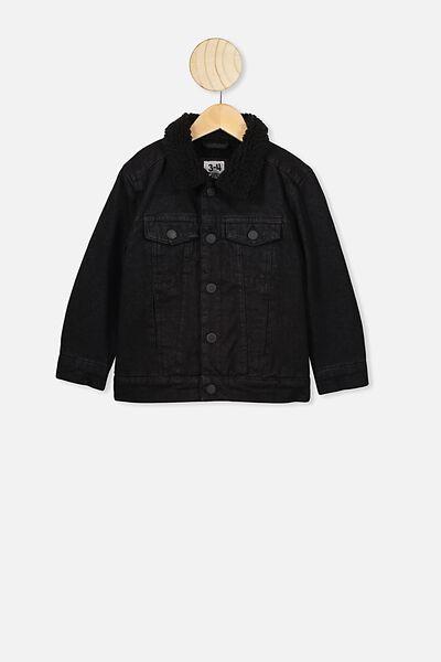 Jessie Denim Sherpa Jacket, BLACK WASH