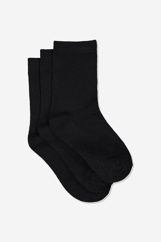 Kids 3pk Crew Socks, BLACK