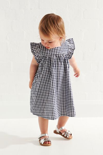 Annie Flutter Sleeve Dress, NAVY BLAZER/MINI GINGHAM