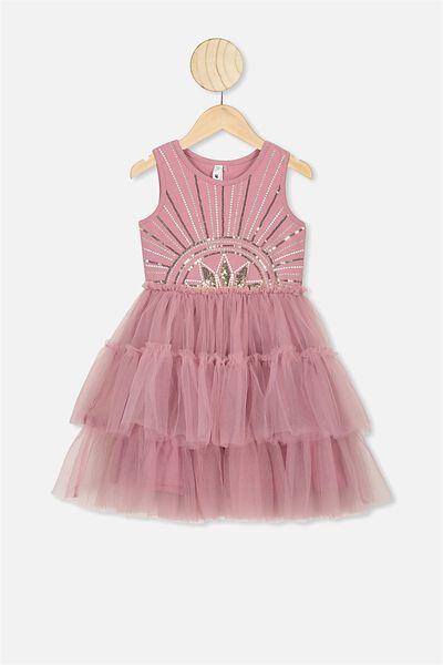 Iris Tulle Dress, DUSTY BERRY/RISING STAR
