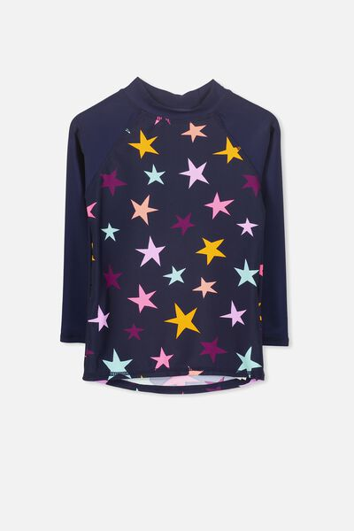 Hamilton Long Sleeve Rash Vest, PEACOAT/STARS