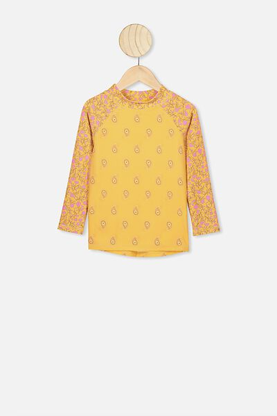 Hamilton Long Sleeve Rash Vest, CORN SILK/SPRIGGY FLORAL