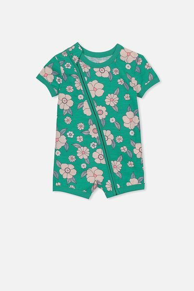 Mini Short Sleeve Zip Through All In One, PEACOCK GREEN/GREEN FLORAL