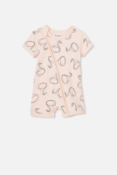 Mini Short Sleeve Zip Through All In One, SHELL PEACH/SCRIBBLE SWANS