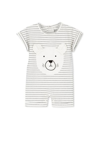 Mini Short Slv Snap Romper, VANILLA STRIPEY BEAR